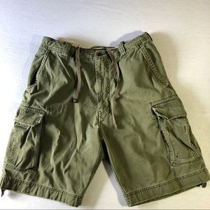 Abercrombie & Fitch Mens Cargo Shorts Sz 33 olive